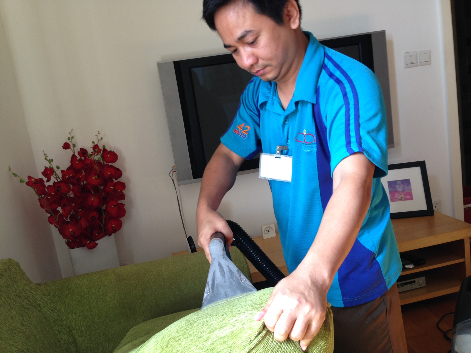 Cleaning Sofa at Customer's House